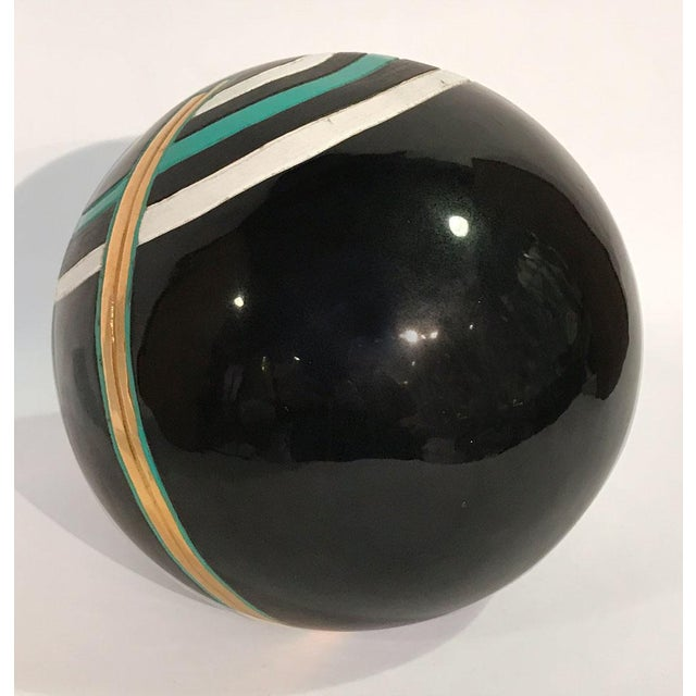 1980s Art Deco Revival Ceramic Orb For Sale - Image 4 of 6