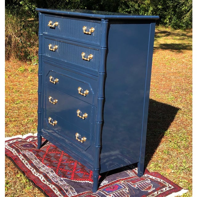Faux bamboo vintage Broyhill dresser professionally lacquered in Sherwin Williams Naval blue Lacquered with conversion...