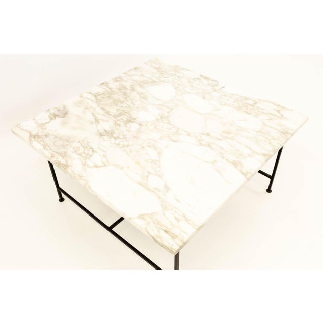 Mid 20th Century Paul McCobb Style Mid Century Marble and Iron Square Coffee Table For Sale - Image 5 of 6