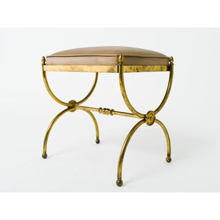 Classical 1940s Brass Bench With Leather Top Preview