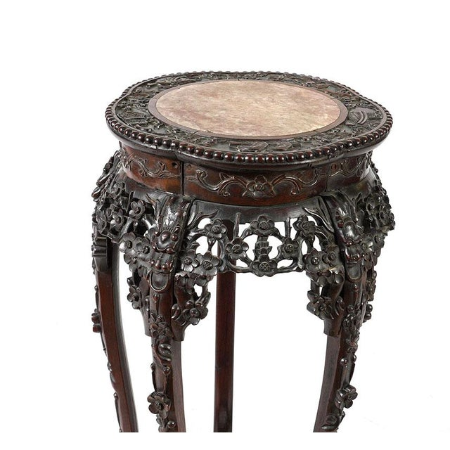 Asian Antique Chinese Rosewood Pedestal or Stand With Marble Top, Qing Dynasty For Sale - Image 3 of 8