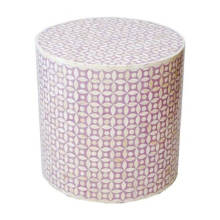 Indian Bone Inlaid Drum Stool / Table Lavender For Sale