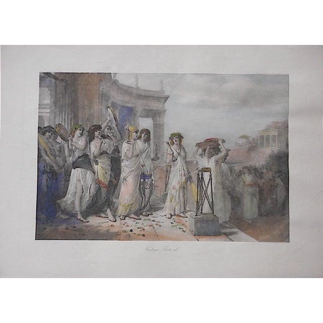 """Large Antique Lithograph """"Vintage Festival"""" For Sale"""