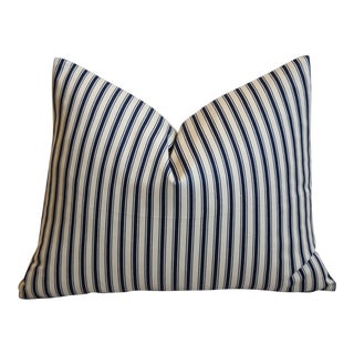"French Nautical/Coastal Blue & White Striped Ticking Feather/Down Pillow 18"" X 15"" For Sale"