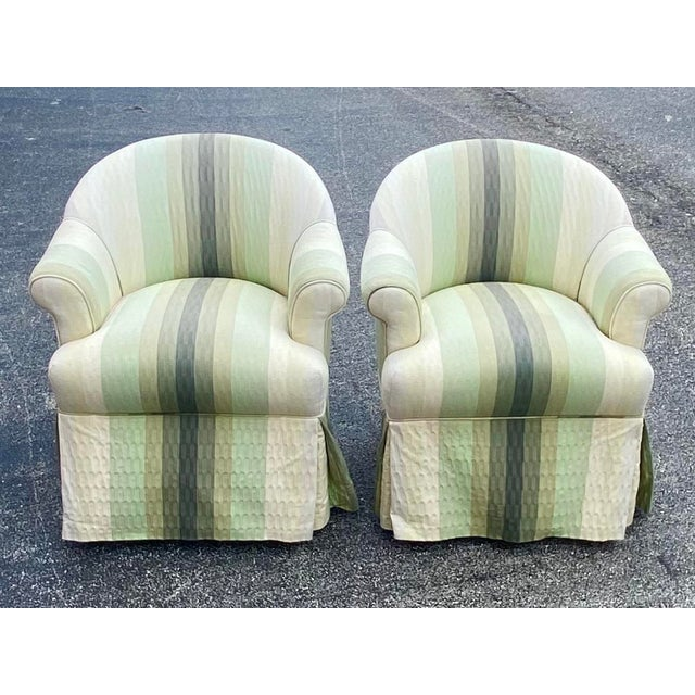 Textile Contemporary R. Jones of Dallas Striped Club Chair - a Pair For Sale - Image 7 of 7