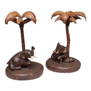 Pair of Composition Elephant with Palm Tree Table Bases