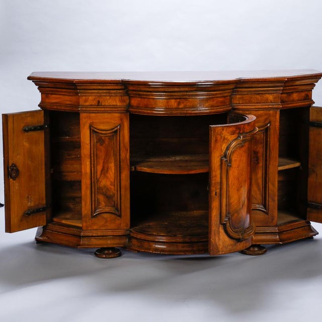 19th Century Burl Walnut Cabinet With Rounded Front and Original Keys For Sale - Image 4 of 10