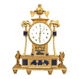 Signed 18th Century Austrian Giltwood and Blue Glass Mantel Clock For Sale