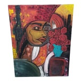 Image of Abstract Cubist Portrait Painting For Sale