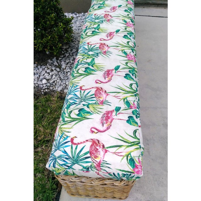 Pink Vintage Wicker Heavy Duty Newly Custom Upholstered Hall End of Bed Bench Seat For Sale - Image 8 of 11