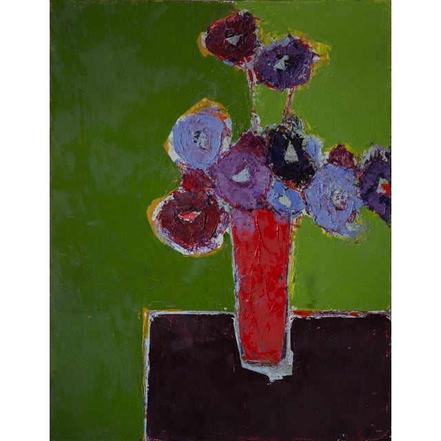 """Bill Tansey """"Brown Table"""" Abstract Floral Painting Oil on Canvas For Sale"""