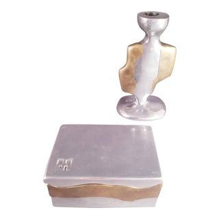 David Marshall Designs Two Tone Aluminum & Brass Box and Candlestick - a Pair