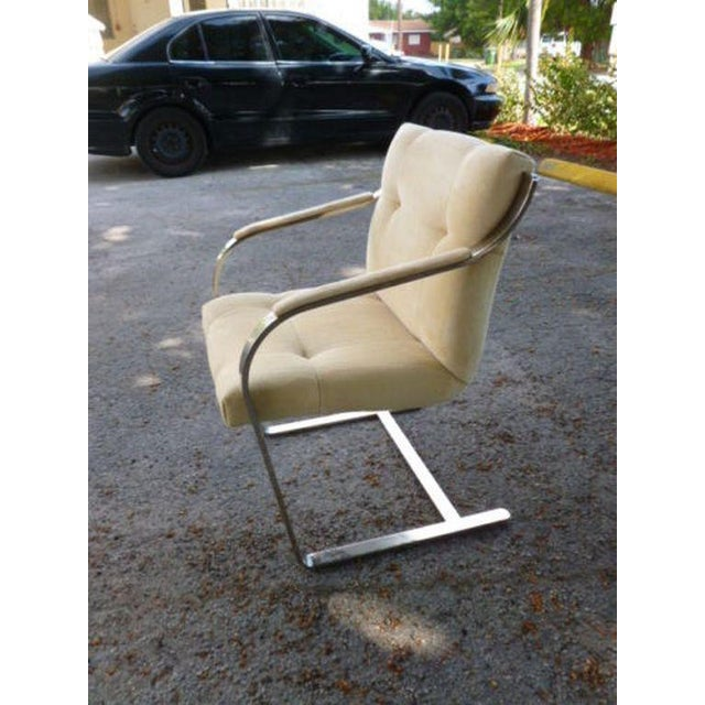 Brueton 1970's Mid-Century Modern Brueton Heavy Thick Chromed Steel Arm Chairs - Set of 4 For Sale - Image 4 of 11