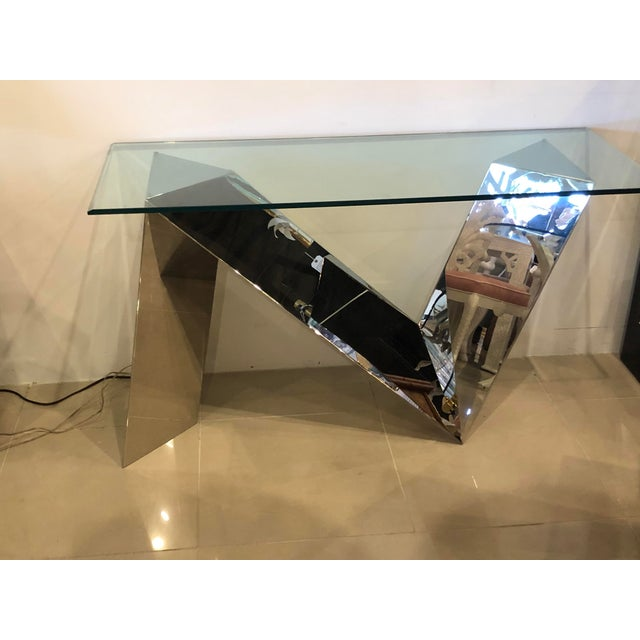 Vintage Modern Polished Stainless Steel Zig Zag Geometric Console Table For Sale - Image 10 of 12