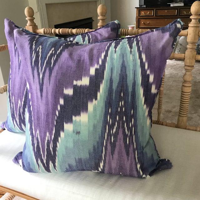 Ikat Butterfly Linen Pillows - A Pair - Image 2 of 9