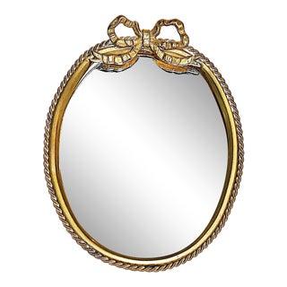 Brass Miniature Oval Desk Mirror For Sale