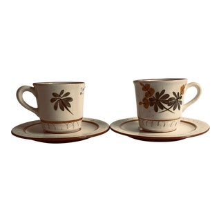 Midcentury Stangl Pottery Tea/Coffee Cups & Saucer - Service for 2 For Sale