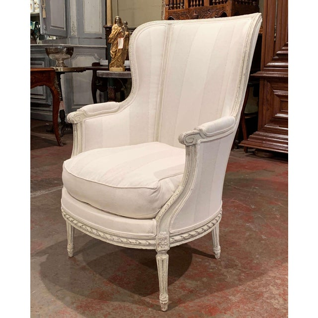 French 19th Century Louis XVI Carved Painted Bergere Armchair For Sale - Image 3 of 13