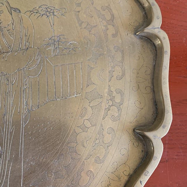 Midcentury Asian Chinoiserie Brass Etched Tray For Sale - Image 11 of 13