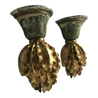 18th Century Italian Carved Gilded Wall Sconces - a Pair For Sale