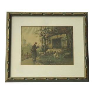 "Arts & Crafts Era ""The Haven"" Shepherdess Farm Landscape Print For Sale"