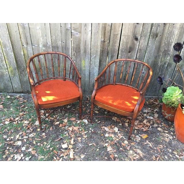 Bamboo Chairs & Orange Cushions - Pair - Image 3 of 5