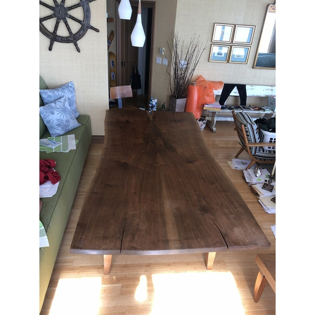 Bronze Scandinavian Modern Ralph Pucci Walnut Wood Dining Table For Sale - Image 7 of 8