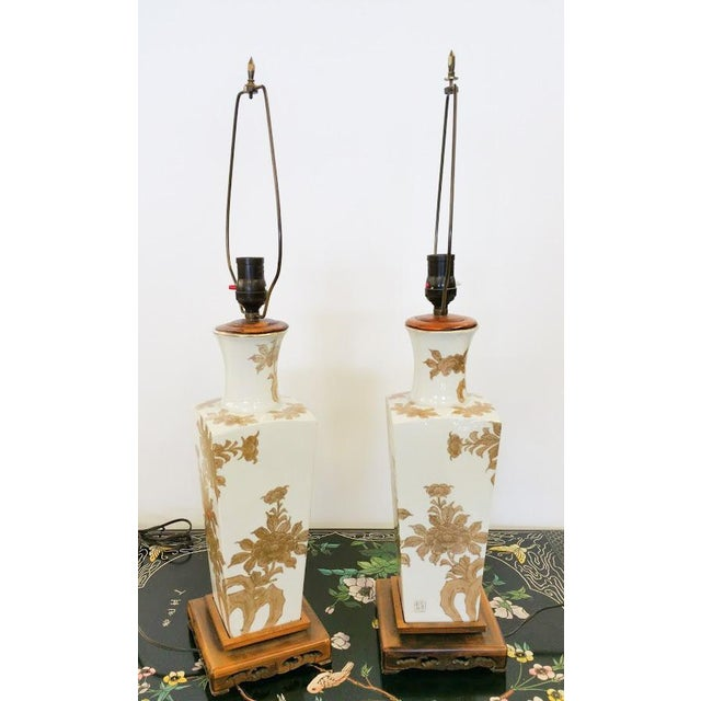Oriental Gold and White Vintage Lamps - a Pair For Sale - Image 4 of 6