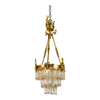 Circa 1920 French Neoclassical Style Gilt Brass Bronze and Crystal Chandelier For Sale