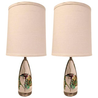 1960s Swedish Glass Table Lamps - a Pair For Sale