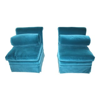 1940s Vintage Velvet Slipper Chairs - a Pair For Sale