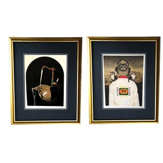 Framed Gucci Bee Hat & Cat Jacket Illustration Prints - A Pair For Sale