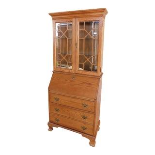 Jasper Cabinet Oak Chippendale Style Secretary Slant Front Desk For Sale