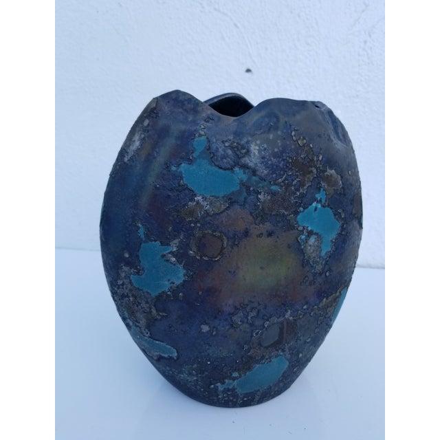 Vintage Art handmade studio pottery for him California artist Tony Evans decorative Raku Vase . Signed and numbered - 171...