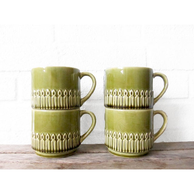 Green Drip Glaze Mugs & Tray - Set of 4 - Image 4 of 6