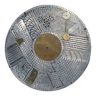 Brutalist Mosaic Aluminum Round Coffee Table For Sale