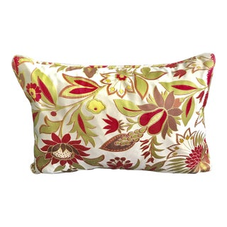 """Luxurious Satin Floral Pillow With Down Filling and Piping - 24"""", Two Available For Sale"""