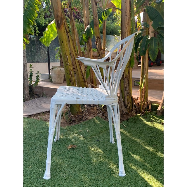 20th Renaissance Revival Style Cast Iron White Garden Chairs in Faux Bamboo - a Pair For Sale In Miami - Image 6 of 11