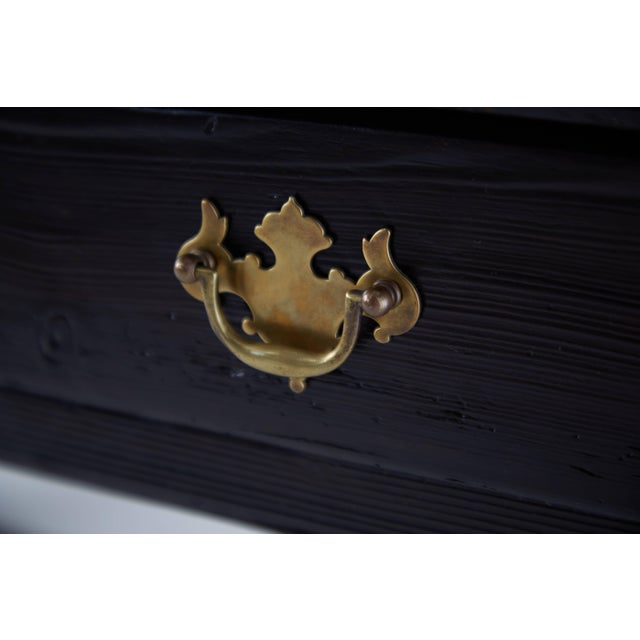 Brass Vintage Black Lacquered Wooden Desk With Brass Hardware For Sale - Image 7 of 8