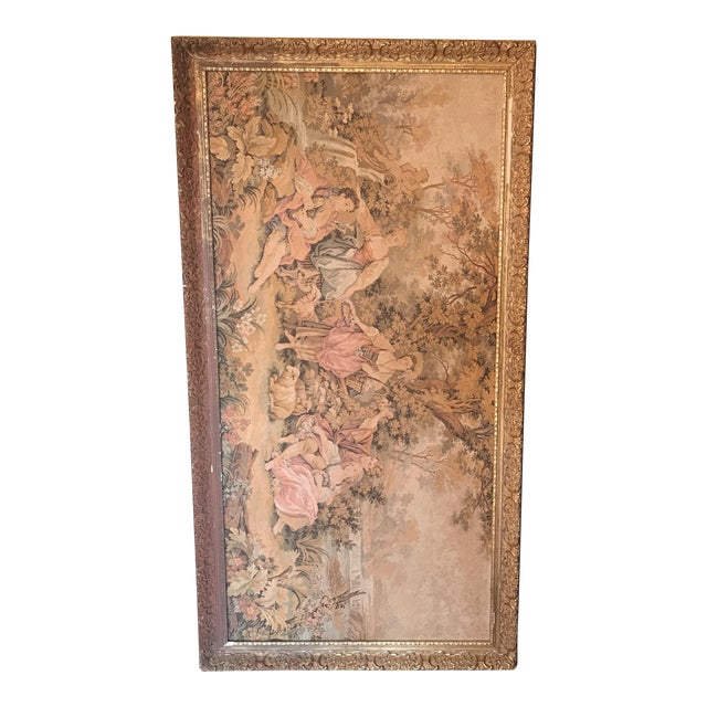 Extra Large Framed Victorian Scene Tapestry For Sale