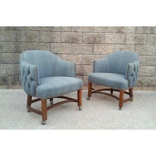 Blue Tufted Club Chairs With Nail Head Trim-A Pair Preview
