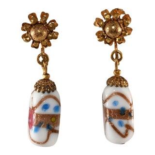 Miriam Haskell Venetian Glass Dangle Earrings Vintage For Sale