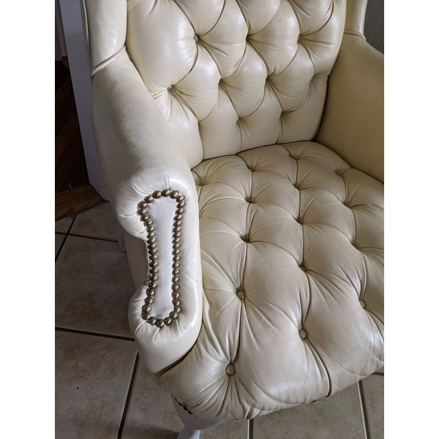 1960s Mid-Century Chesterfield Tufted White Leather Wingback Chair For Sale - Image 5 of 9