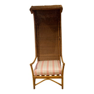 Late 20th Century Wicker and Bamboo Canopy Chair For Sale