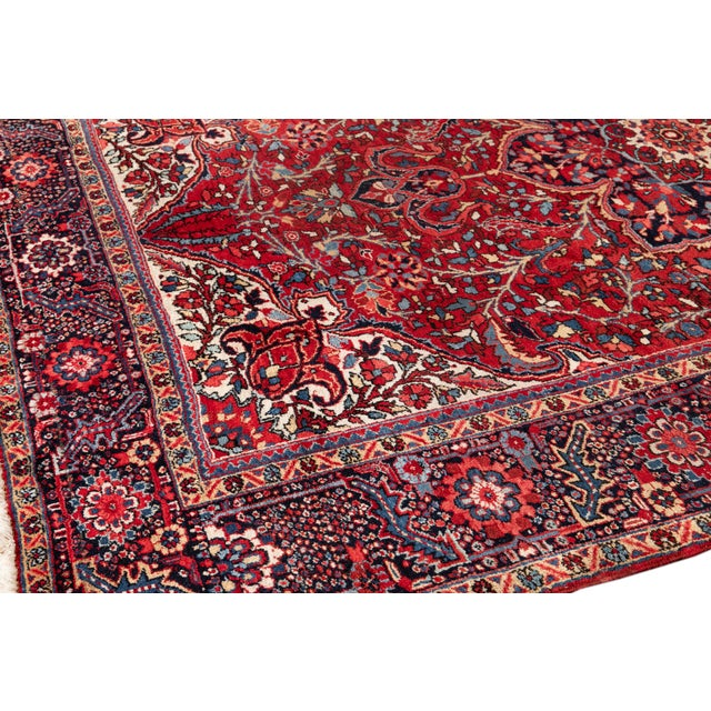 Textile Mid 20th Century Vintage Persian Rug For Sale - Image 7 of 9