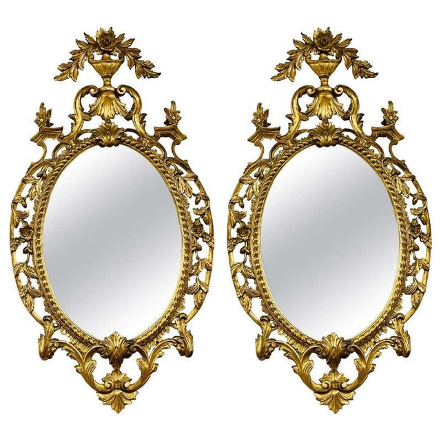 Pair Gilt Wood Wall or Console Mirrors For Sale - Image 9 of 12
