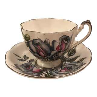 1920s Pink and Blue Floral Queen Anne Teacup and Saucer - a Pair For Sale