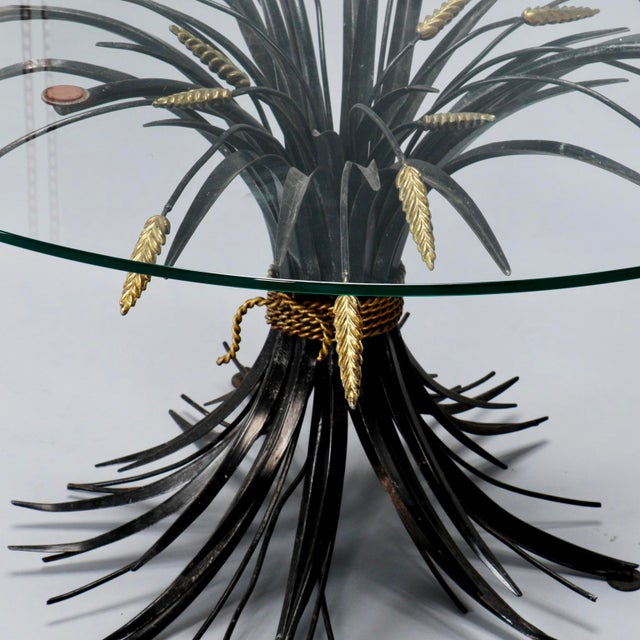 1940s Italian Black and Gilt Wheat Sheaf Table With Glass Top For Sale - Image 5 of 8