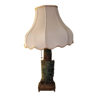 Antique 19th Century Chinese Jade-Colored Hardstone Lamp For Sale
