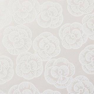 Sample - Schumacher Vogue Living Mona Pattern Floral Wallpaper in Whitework For Sale